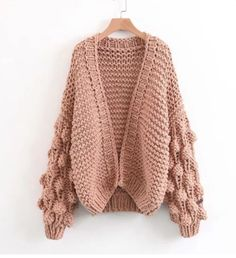Cuteness on Sleeves Chunky Cardigan in Pink - Sweaters - TOPS - Retro, Indie and Unique Fashion Cardigan Au Crochet, Cardigan En Maille, Oversized Knit Cardigan, Wool Cardigan, Sweater Coats, Chunky Crochet, Pink Cardigan, Pink Sweater, Unique Fashion