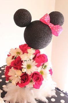 Floral Minnie Mouse centerpiece