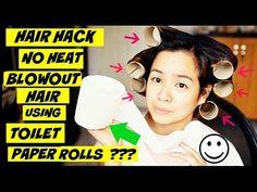 Hair Hacks-Toilet Paper Rolls For Big Voluminous Hair- Salon Blowout Eff Blowout Hair, Messy Bun Hairstyles, No Heat, Voluminous Hair, Does It Work, Toilet Paper Roll, Pick One, Hair Videos, New Trends