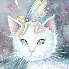 (via Fairy and Cat Watercolor Fine Art Print by by MollyHarrisonArt)