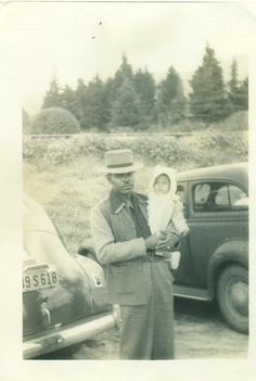 African American Black Man Holding Baby Daughter California Cars Early 1940s…