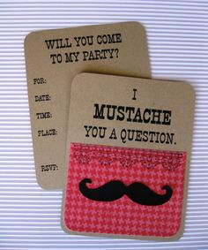 Girl's Mustache Party Invitation by cmariedesigns on Etsy, $2.50