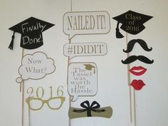 Graduation Photo Booth Prop -Black and Gold. Makes perfect graduation gift! Imagine how much fun everyone will have with these Props! Set includes: 2- Graduation Hats-1 printed and one chalkboard. 2-