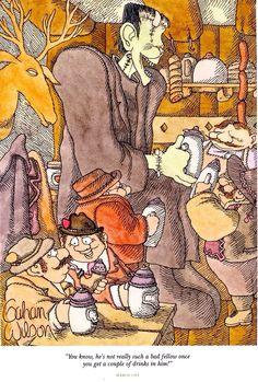 Gahan Wilson Gahan Wilson, Charles Addams, Funny Cartoon Pictures, Wilson Art, Fun Comics, Macabre, Really Funny, Comic Art, Science Fiction
