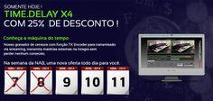 Hoje o produto em promoção da semana #NABSHOW2014, com 10% de desconto, é o TimeDelay: mais um desenvolvido pela linha VM.  Originalmente feito para compensar as diferenças de fuso-horário, o TimeDelay possui a função de afinar a programação da televisão.  Para mais informações, acesse: https://www.facebook.com/photo.php?fbid=751163188257034&set=a.603007109739310.1073741826.465714180135271&type=1&theater