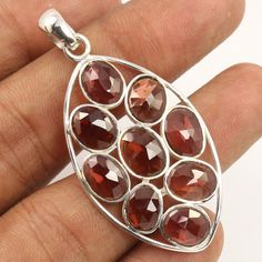 925 Sterling Silver Jewelry Traditional Pendant Natural GARNET Checker Gemstone #Unbranded #Pendant