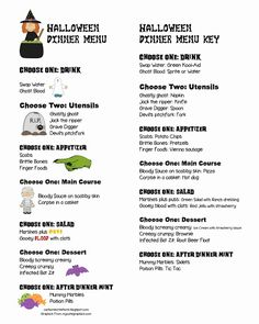 I have always loved Halloween time and for years I have had this Halloween dinner menu in my recipe book that I planned to use one day wh. Birthday Dinner Menu, Dinner Party Menu, Dinner Themes, Birthday Dinners, Birthday Recipes, Dinner Ideas, Dinner Recipes, Halloween Menu, Halloween Celebration