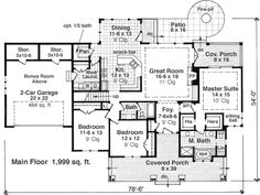First Floor Plan of Craftsman   Traditional   House Plan 42619
