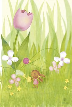 Bunny watering tulip-Lynn Gaines Design and Illustration