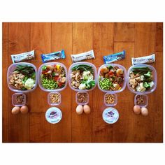 #MealPrepMondays Mon/Wed/Fri: Snack 1 ➡️ 2 Eggs   Snack 2 ➡️ Almonds   Lunch ➡️ Grilled chicken, broccoli & cauliflower, & Green beans   Snack 3 ➡️ Chocolate chip Cookie dough quest bar Tue/Thur: Snack 1 ➡️ 0% Greek Yogurt   Snack 2 ➡️ Cashews   Lunch ➡️ Shrimp, sautéed veggies, & Edamame   Snack 3 ➡️ Cookies & cream quest bar Not shown: shakeology with pb2 & almond milk I have for breakfast & dinner I make at home P.S. Follow @mealprepdaily