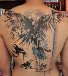 Raven Back Tattoo by Gene Coffey.  Goddddd.. water color tattoos are just too amazing. true art. unbelievable talent.