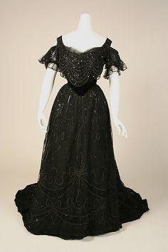 House of Worth, Black Silk Dress, French, circa 1906-1908.
