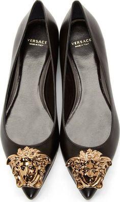 Versace Black Leather Medusa Head Flats · Black Ballet ...