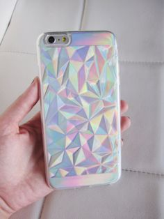 iPhone 6 6S Plus case - clear holographic geometric low poly crystal quartz design hipster iridescent phone case. This case is two pieces - crystal clear outer case and a cardboard holograph insert. Two looks in one - use with or without the iridescent holographic cardboard insert. US seller.