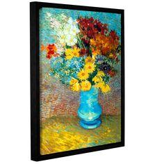 ArtWall 'Vincent VanGogh's Flowers in Vase' Gallery Wrapped Floater-framed