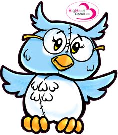Ol' Spectacle Owl from Big Heart Decals Inc. Made in Canada. Fabric stickers or wall decals for nursery or kids playrooms. Sticks on walls, windows and flat surfaces.  Movable, removable, no residue.  Price: $20.00 - 12.25 x 14 inches
