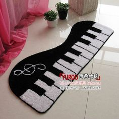 Piano Keys Music Notes New Doormat Mat Pad Small Carpet tile Colors Black White | eBay - I would love to put this under my keyboard in the bedroom.