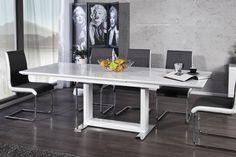 """Der beeindruckende Esstisch """"TRIUMPH"""" besticht durch seine hochwertige und universal einsetzbare Tischplatte mit Highgloss Finish. Sie brauchen mehr Platz? Kein Problem! Im Handumdrehen lässt sich der Tisch kurzerhand auf eine Länge von 220 cm vergrößern. Die vorhandenen Einlegeböden innerhalb des Tisches, lassen sich ganz individuell einsetzen und machen diesen Tisch zum idealen Begleiter für größere Sitzrunden."""