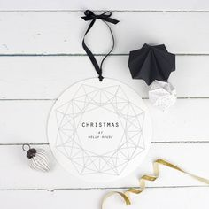 personalised geometric christmas wreath decoration by delightful living | notonthehighstreet.com