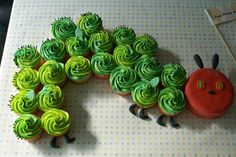 Caterpillar Cupcake Cake~ By Coco Cake Land - Cakes Cupcakes Vancouver BC: The Hungry Caterpillar Cupcake Party Train! Hungry Caterpillar Cupcakes, Very Hungry Caterpillar, Caterpillar Book, First Birthday Cakes, Birthday Party Themes, Birthday Cupcakes, Party Cupcakes, 2nd Birthday, Birthday Ideas