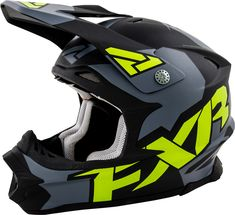 FXR Racing - 2015 Snowmobile Apparel - Blade Helmet - Charcoal/Green Matte