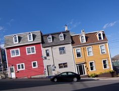 Jellybean houses by ©Shireen Nadir | Blue Brick Photography: on a typical, crazy, St. John's hill, Newfoundland, Canada: do they come with special furniture or anti-sliding aids?