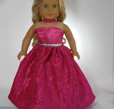 18 inch doll clothes Pink Full-Length Party Dress 05-0237 by thesewingshed on Etsy
