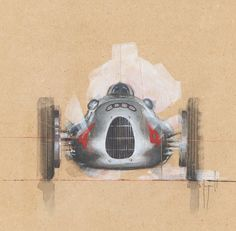 Auto Union Type D by Emmanuel Mergault Car Painting, Painting & Drawing, Watercolor Painting, Grand Prix, Car Pictures, Photos, Art Et Illustration, Technical Illustration, Vintage Racing