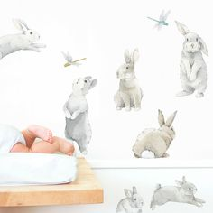 Transform any room into a sweet garden with this bunny wall decals kit. Our nursery bunny wall art is printed on fabric and can be repositioned on the wall. Nursery Wall Decals, Nursery Room, Girl Nursery, Nursery Stickers, Baby Stickers, Nursery Wallpaper, Bunny Room, Bunny Nursery, Nursery Themes