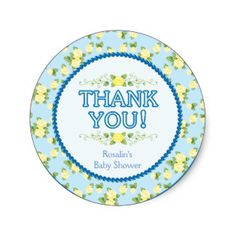 Blue, Baby Shower Thank You Stickers