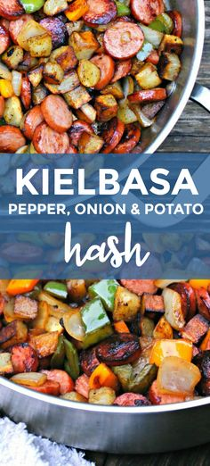 Kielbasa Pepper Onion and Potato Hash is an easy to make healthy and delicious meal that comes together in just 15 minutes featuring tons of fresh veggies and lean turkey kielbasa. Turkey Kielbasa Recipes, Pork Recipes, Cooking Recipes, Healthy Recipes, Lean Recipes, Pasta Recipes, Crockpot Recipes, Recipies, Kielbasa And Potatoes