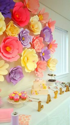 Giant paper flower baby shower back drop