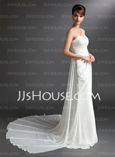 Wedding Dresses - $126.59 - Sheath/Column One-Shoulder Watteau Train Chiffon Wedding Dress With Ruffle Beadwork (002012679) http://jjshouse.com/Sheath-Column-One-Shoulder-Watteau-Train-Chiffon-Wedding-Dress-With-Ruffle-Beadwork-002012679-g12679