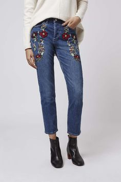 Want to up your denim game? We've got you covered with these floral embroidered straight leg jeans. #Topshop