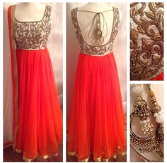 Peach, white and gold anarkali suit