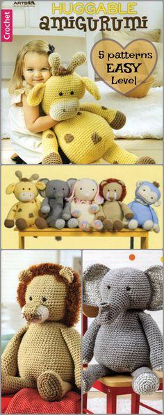 Super cute amigurumi animals, big enough to cuddle! 5 crochet patterns easy enough for a beginner #ad #amigurumi #crochet #pattern
