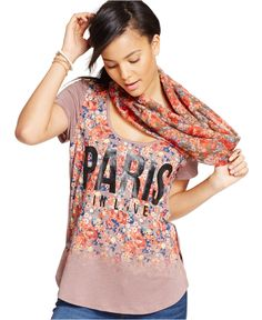 41622ea1fe2 Belle Du Jour Juniors  Paris Graphic Tee   Infinity Scarf   Reviews - Tops  - Juniors - Macy s