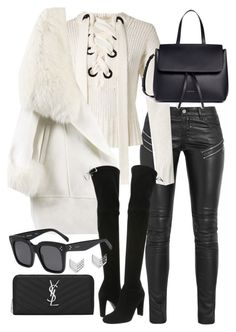 """""""Untitled #20824"""" by florencia95 ❤ liked on Polyvore featuring Yves Saint Laurent, Joseph, Mansur Gavriel, Stuart Weitzman, CÉLINE and FOSSIL"""