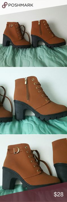 Brown booties - new Very soft light-weight material Never worn Says size 235 / 37 which equals a 7 Shoes Ankle Boots & Booties
