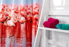 This electric red flamingo shower curtain is sure to brighten up your mornings.