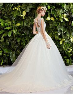 Snowskite Womens A-line Vintage Lace Beading Wedding Dress with Bow -- Read more reviews of the product by visiting the link on the image. (This is an affiliate link) #Plussizeweddingdresses