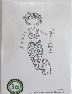 Impression Obsession Splash Mermaid Cling Mount Rubber Stamp Mermaids Jellyfish | eBay