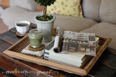 Tutorial on how to make a tray out of a wood picture frame and reclaimed wood. Wood Picture Frames, Picture On Wood, Christmas Ideas For Him, Christmas Gifts, Diy Candles Easy, Diy Gifts For Men, Diy Kitchen Island, Aging Wood, Wood Tray