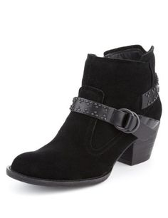 Indigo Collection Suede Studded Strap Ankle Boots with Insolia®-Marks & Spencer (My new boots!)