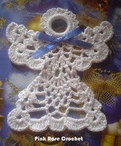 Olá!  Tudo bom?   Anjo para Enfeite de Árvore de Natal!  Para a cabeça do anjo, usei uma argola  recoberta com pontos baixo de crochê.      ...