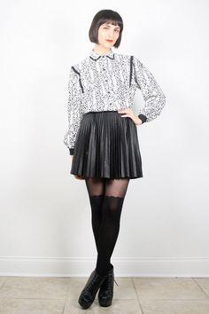 Vintage 80s Blouse Black White Blouse Snow by ShopTwitchVintage
