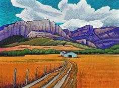 ~ Nicholas Bott ~ Prairie landscape with escarpment hills Watercolor Landscape, Abstract Landscape, Landscape Paintings, Landscapes, Canadian Painters, Canadian Artists, Landscape Arquitecture, American Indian Art, Acrylic Art