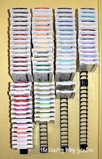 Media Stix...The Crafty Blog Stalker: My Craft Room & DIY Ink Pad Storage These are Media Stix (intended to hold CDs or DVDs) and can be found at Target for about $12.