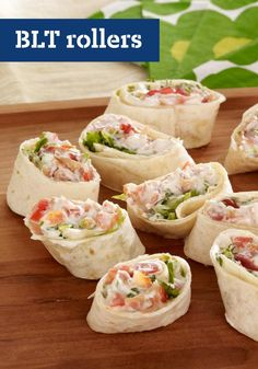 Ever meet a BLT you didn't like? These BLT Rollers are no exception! Get all the elements of the classic in this tortilla version with our BLT Rollers. Appetizer Dips, Blt Recipes, Recipies, Delicious Appetizers, Bacon Appetizers, Lunch Recipes, Kraft Recipes, Kraft Foods, Snacks