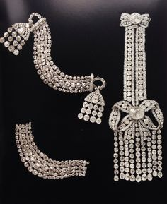 Russian Diamond Epaulettes. Two are from the beginning of the 19th.c the third is from the time of Catherine the Great.